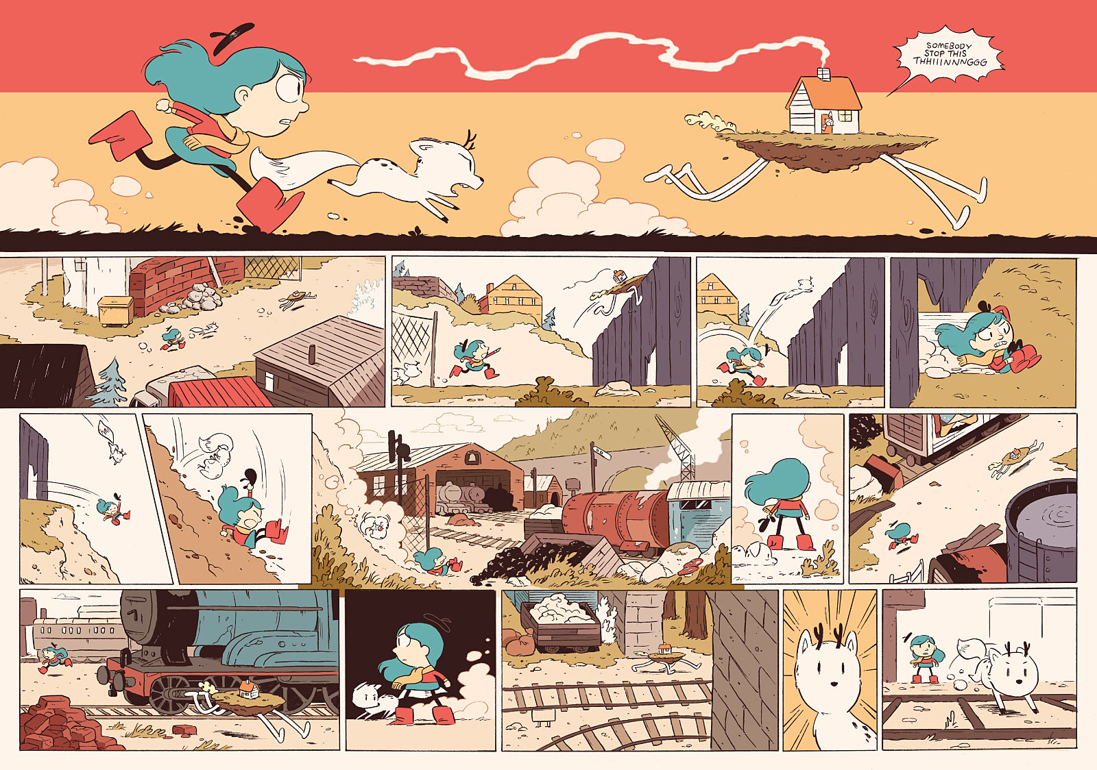 Hilda and the Stone Forest chase