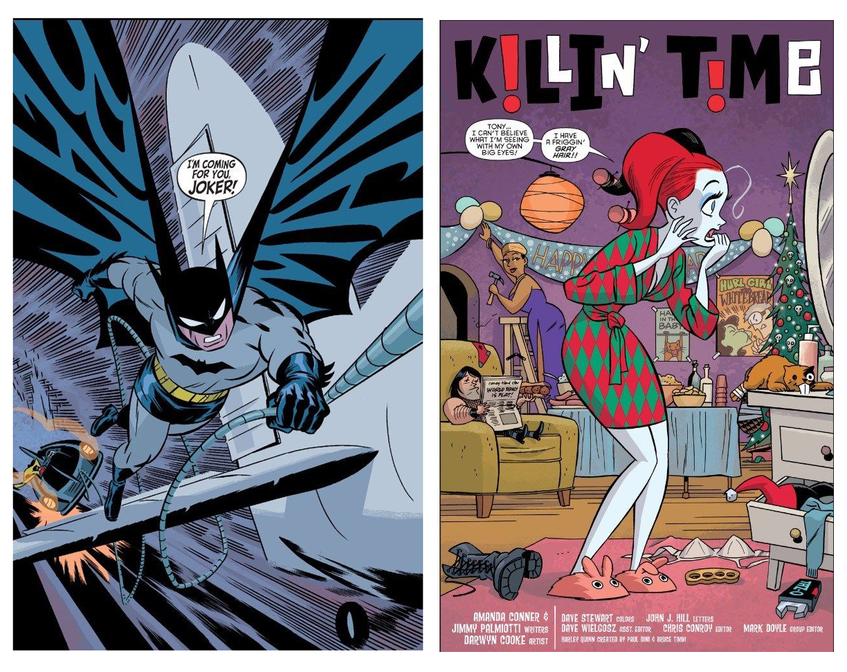 Batman and Harley Quinn splash pages